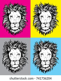 pop art lion vector drawing