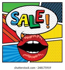Pop art lips - bubble Sale. Vector Illustration.
