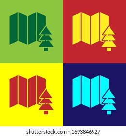 Pop art Location of the forest on a map icon isolated on color background. Vector Illustration