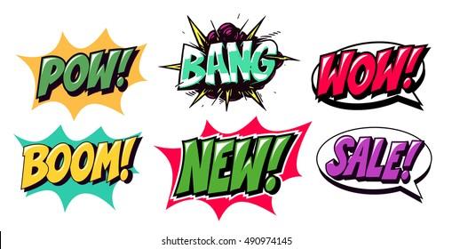 Pop art logos. Comics style. vector isolated