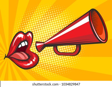 Pop art loudspeaker poster. Retro bullhorn or megaphone vector illustration with beautiful and sexy female mouth for magazine advertising