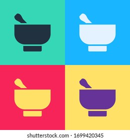 Pop art Magic mortar and pestle icon isolated on color background.  Vector Illustration