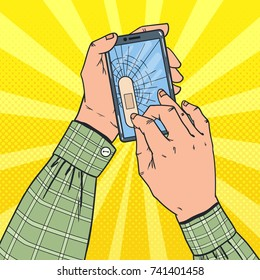Pop Art Male Hands Holding Broken Smartphone with Crashed Screen. Damaged Cell Phone. Vector illustration
