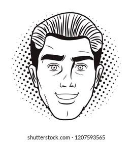 Pop art man face