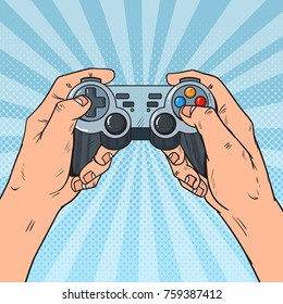 Pop Art Man Holding Gamepad. Male Hands with Joystick Console. Video Game. Vector illustration