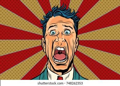pop art man screams in horror, panic face. Pop art retro vector illustration