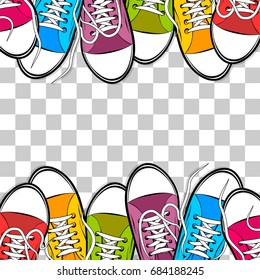 Pop art man woman sneakers, foot wear, shoe, shoelace isolated doodle card. Comic book text bright color mock up. Cartoon sketch vector illustration transparent background. Funny casual style.