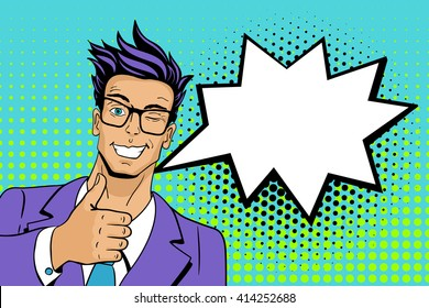 Pop art man. Young handsome man in glasses. Vector illustration in retro comic style. Vector pop art background.