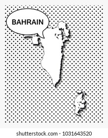 Pop art map of Bahrain