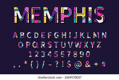 Pop art memphis style font for title, header, lettering, poster, logo, banner, art and craft design. Regular display letters, numbers, punctuation. Retro typography design element. Vector illustration