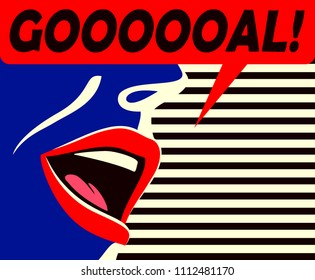 Pop art minimal style mouth of cheering football supporter shouting goal celebrating score by his team with speech bubble flat design vector illustration