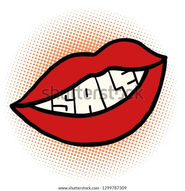 Pop Art Mouth Sale Comic Cartoon Stock Vector Royalty Free 1299787309