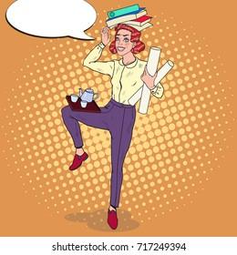 Pop Art Multitasking Business Woman at Work. Overload Office Secretary. Vector illustration