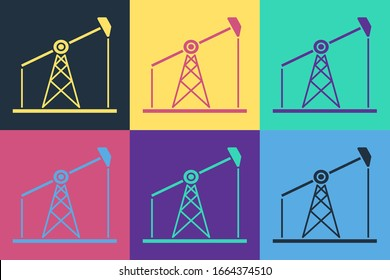 Pop art Oil pump or pump jack icon isolated on color background. Oil rig. Vector Illustration
