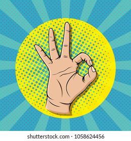 Pop art ok sign gesture, thumb up hand vector illustration.