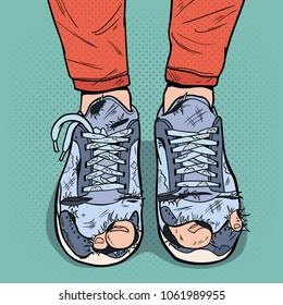Pop Art Old Sneakers. Dirty Old Shoes. Hipster Wear Damaged Footwear. Vector illustration