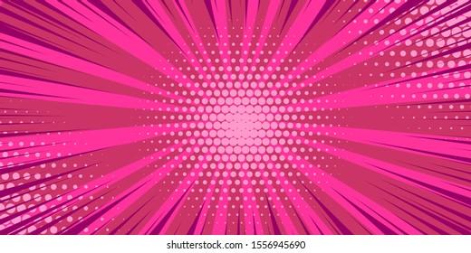 Pop art pink comics book cartoon magazine cover. Cartoon funny retro pattern strip mock up. Vector halftone illustration. Vintage backdrop for comic superhero text, speech bubble, message.