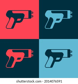 Pop art Police electric shocker icon isolated on color background. Shocker for protection. Taser is an electric weapon.  Vector