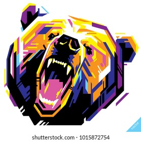 Pop art portrait of agressive bear. Vector illustration
