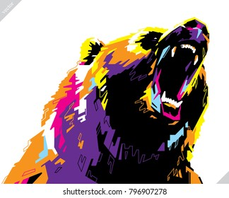 Pop art portrait of agressive bear. Vector illustration art
