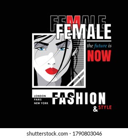 Pop art portreit of fashion woman with quote on black background. Vector illustration