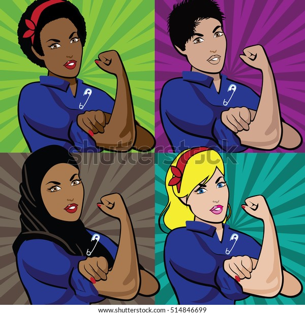 Pop art poster of multicultural Rosie the Riveters wearing a safety pin. We can do it. You're safe with me. EPS 10 vector.