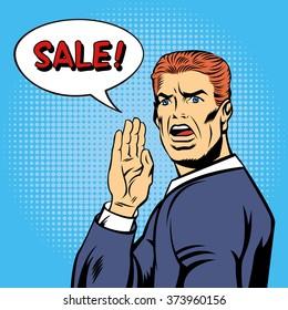 Pop Art Poster. Vintage Man Shouts Sale in Comics Style. Vector illustration