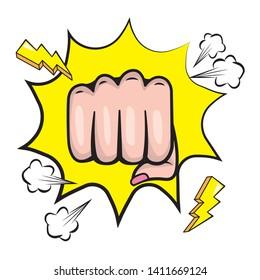 Pop art punch hand on explosion background cartoon