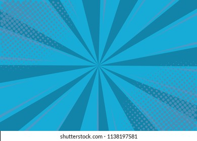 Pop art retro comic. Blue background superhero. Lightning blast halftone dots. Cartoon vs. Vector Illustration