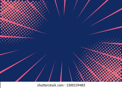 Pop art retro comic. Lightning blast halftone dots. Cartoon vs. Retro 80's style colors. Vector Illustration