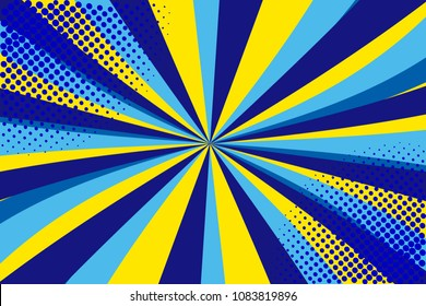 Pop art retro comic. Yellow-blue background. Lightning blast halftone dots. Cartoon background, superhero. Vector Illustration