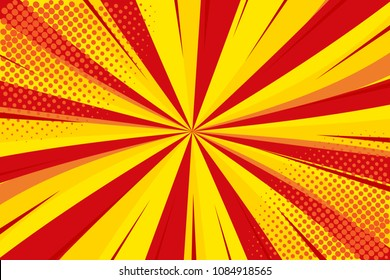 Pop art retro comic. Yellow-red background. Lightning blast halftone dots. Cartoon background, superhero. Vector Illustration
