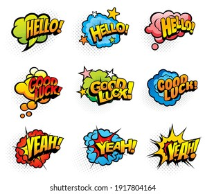 Pop art retro exclamations and wishes speech clouds and explosions bubbles. Hello greeting, good luck wish and yeah loud exclamation icons or stickers with stars and half tone cartoon vector