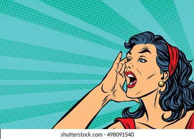 Pop art retro girl screams, vector illustration. Herald news