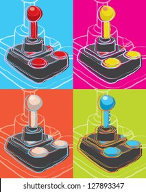 pop art retro joysticks