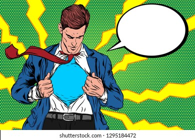 Pop Art Retro, A man Open Cloth. Super hero male businessman. Corporate, courage, Vector Illustration