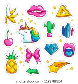 Pop art retro stickers. Ice cream eyes rainbow cartoon vector designs of 80th and 90th. Illustration of patch and sticker applique, fashion badge cactus, crystal, cherry and diamond