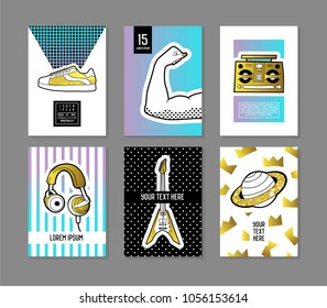 Pop Art Retro Style Posters Set. Trendy Fashion Banners with Badges and Patches for Placards, Covers Design, Invitations, Advertising. Vector illustration