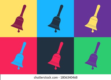 Pop art Ringing bell icon isolated on color background. Alarm symbol, service bell, handbell sign, notification symbol. Vector.