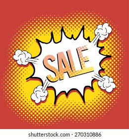 pop art  sale text explosive over red color background