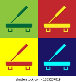 Pop art Scented spa stick on a wooden stand icon isolated on color background. Incense stick. Cosmetic procedure aromatherapy. Vector.