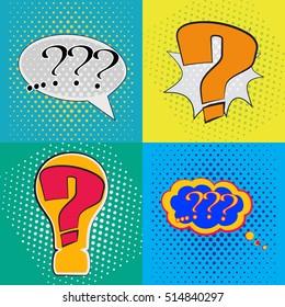 Pop art set speech bubble with question mark, perplexity comic book speech bubble, colorful speech bubble, vector