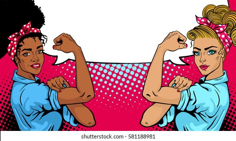 Pop art sexy strong african and white girls with empty speech bubble. American symbol of female power, woman rights, protest, feminism. Vector bright background in retro comic style.