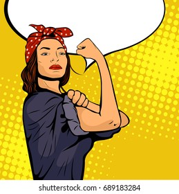 Pop art sexy strong woman symbol of female power woman rights protest feminism. Vector colorful pop art illustration in retro comic style. We Can Do It poster.