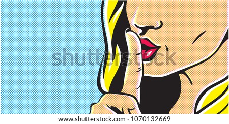 Pop art shhh woman