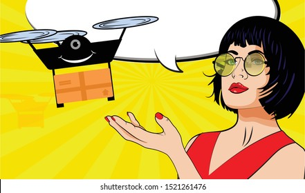 Pop Art Shopping time with drone Shipping Delivery. vector illustration