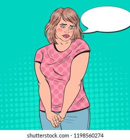 Pop Art Shy Fat Woman. Overweight Ashamed Young Girl. Unhealthy Eating. Vector illustration