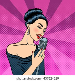 Pop Art Singing Beautiful Young Woman with Microphone. Vector illustration