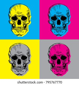 pop art skulls vector file