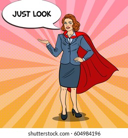 Pop Art Smiling Super Business Woman in Red Cape Pointing on Copy Space. Presentation. Vector illustration